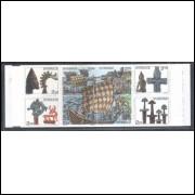 Suécia - 1990 - Caderneta, Viking, embarcação, barco, escultura.