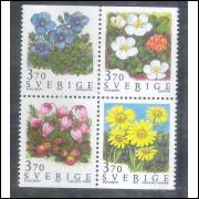 Suécia - 1990 - Quadra, flores, flora.