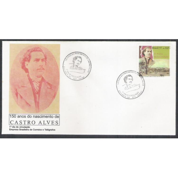 FDC-691 - 1997 - 150 Anos do Nascimento de Castro Alves. Literatura. O Poeta da Liberdade.