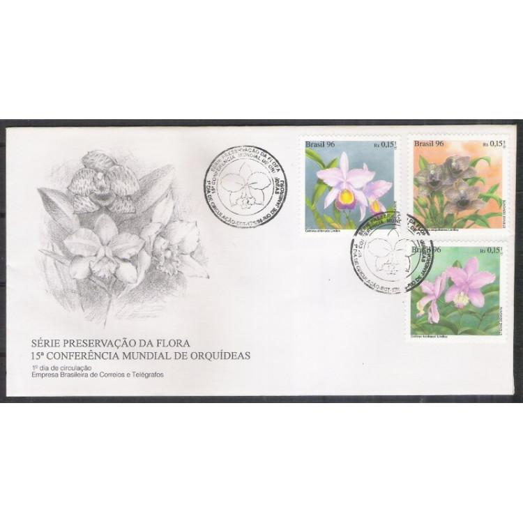 FDC-683 - 1996 - 15a Conferência Mundial de Orquídeas. Flora.