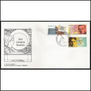 FDC-517 - 1990 - Literatura Brasileira - Guilherme de Almeida-Oswald de Andrade-Biblioteca Nacional.