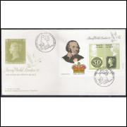 FDC-500 - 1990 - 150 Anos do Penny Black. Selo sobre selo. Exposição Filatélica - London-90