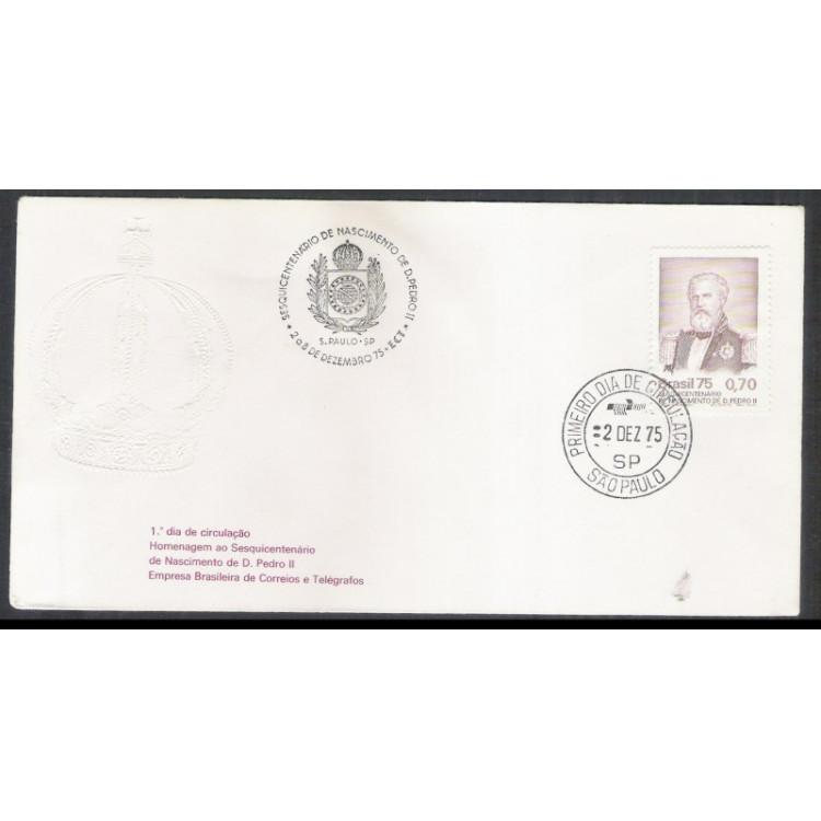 FDC-084 - 1975 - Sesquicentenário do Nascimento de D.Pedro II.. Carimbo 1o Dia e Comemorativo.