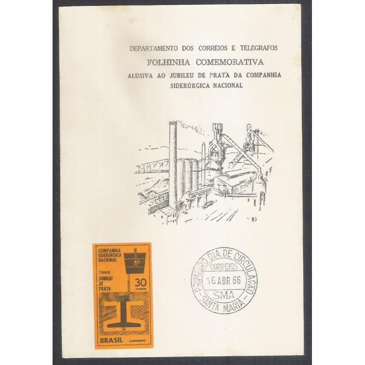 FO26 - 1966 Folhinha Comemorativa Alusiva ao Jubileu de Prata da Campanhia Siderúrgica Nacional.
