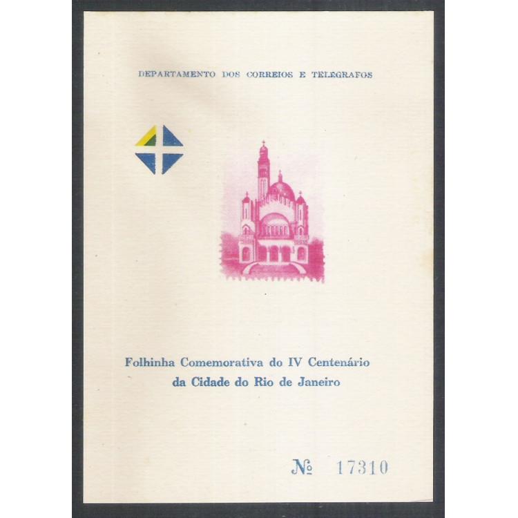 FO15A - 1965 Folhinha Comemorativa: IV Centenário da Cidade do Rio de Janeiro. Erro:FORMASA no verso