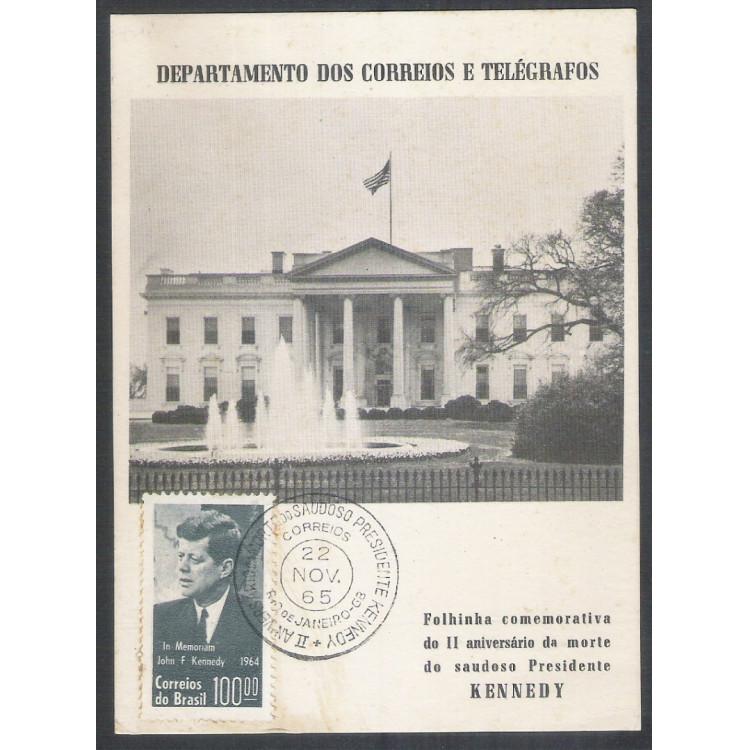 FO23 - 1965 Folhinha Comemorativa do II Aniversário da morte do saudoso Presidente Kennedy.