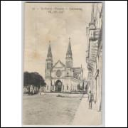 ctb12 - Cartão postal circulado 1916, Curityba - Catedral. Pessoas