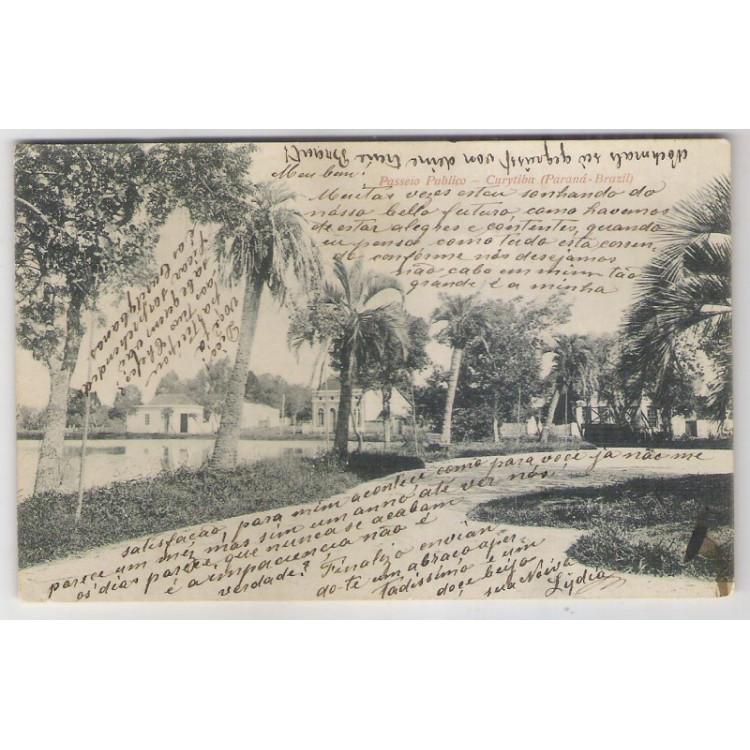 ctb13 - Cartão postal circulado 1909, Curityba - Passeio Público