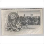 ctb19 - Cartão postal antigo, 1947, Vista Curitiba - Bôas Festas e Feliz Ano Novo.
