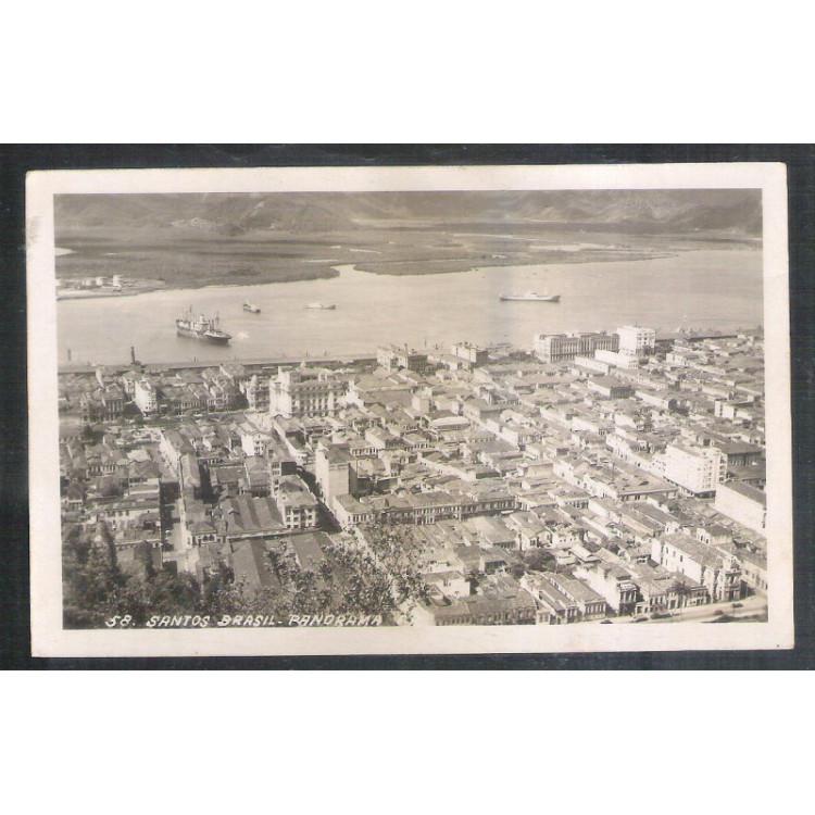 Foto Postal Wessel 58 Santos panorama Ano 1951