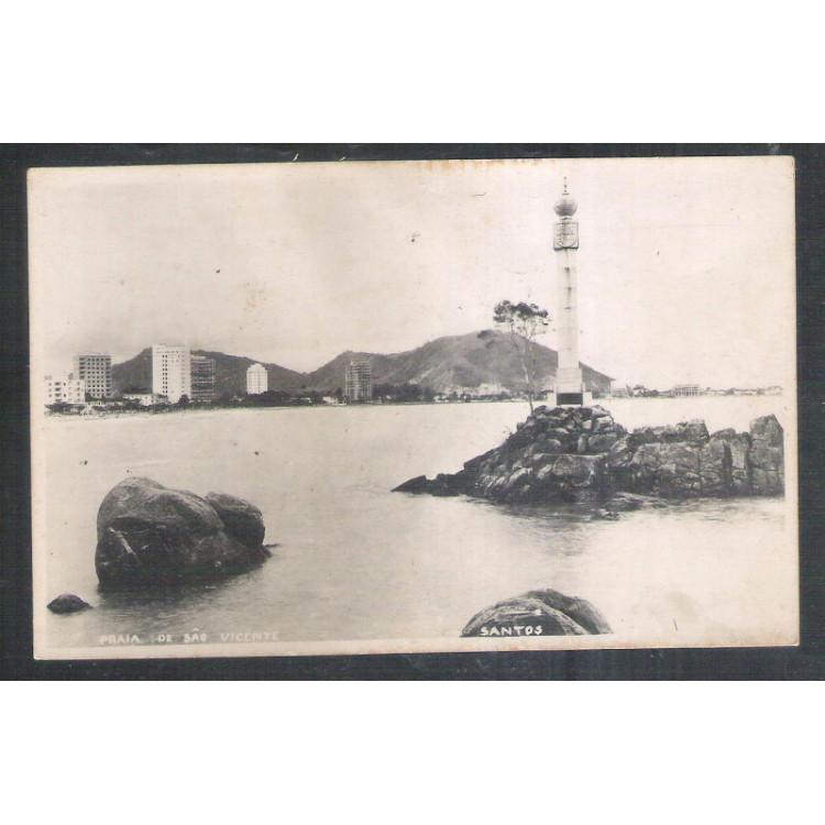 Foto Postal ano 1950 Praia de São Vicente, Santos, farol.