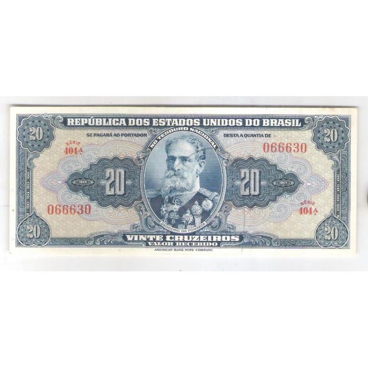 C021 - 20 Cruzeiros, 1943, Autografada, Valor Recebido, série 404, soberba. Deodoro da Fonseca.