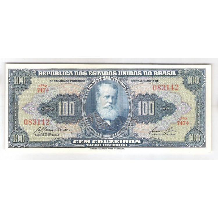 C033 - 100 Cruzeiros, 1959, Valor Recebido, Affonso Almiro - Lucas Lopes, fe. D. Pedro II.