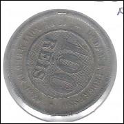 1889 - 100 Réis, reverso horizontal a esquerda, mbc