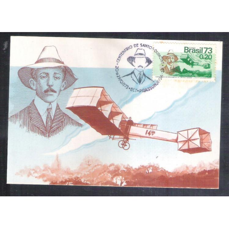 max006 - 1973 Santos Dumont, aviação, 14 Bis. Carimbo Comemorativo, Pirassununga - São Paulo