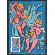 max034 - 1974 Natal, Religião, anjos. Carimbo Comemorativo, Manaus - AM