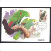 max061 - 1980 Fauna, Ave, Papagaio de Peito Roxo -Lubrapex 80, Carimbo 1o dia, São Paulo.