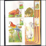 max010/13 - 1973 Fauna, Flora, Guará, Onça, Arara, Ema. Vitória Régia , Carimbo 1o dia, São Paulo.