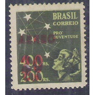 AO52D - 1944 - 20 cts sobre 400 Réis, Pró-Juventude, com SOBRECARGA DUPLA.