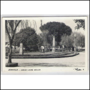joi03 - Postal circulado 1958, com selo - Joinville - Jardim Lauro Muller. Fotos Mario Prugner.