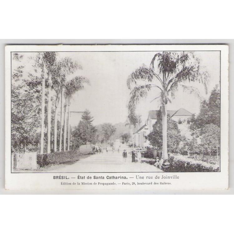 joi06 - Postal antigo - Joinville - SC, Uma rua. Édition de la Mission de Propagande.