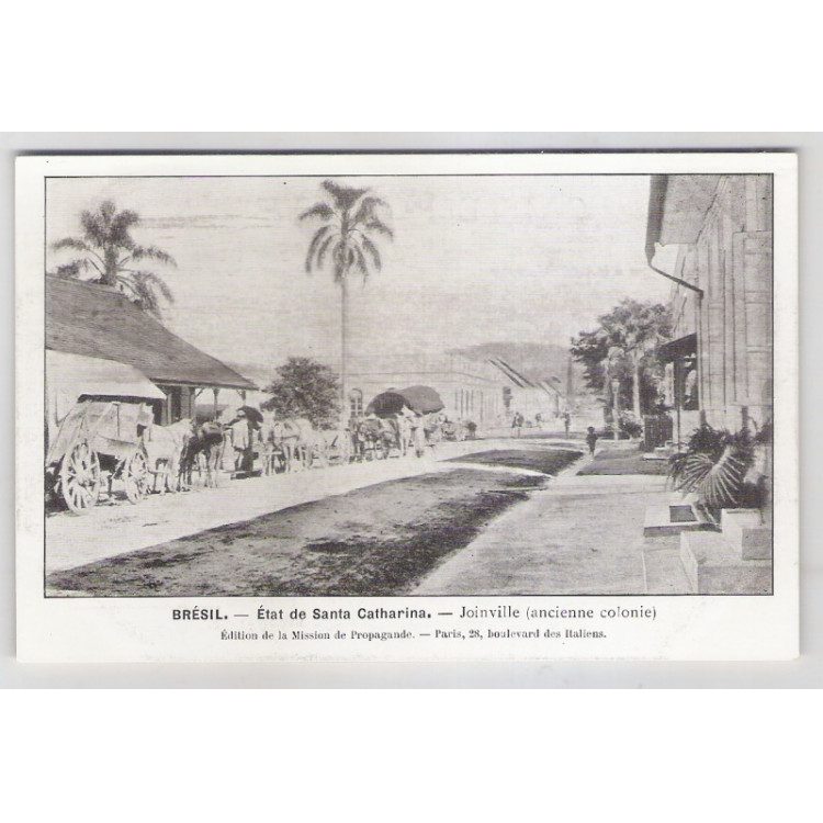 joi08 - Postal antigo - Joinville - SC, Rua com Carroças. Édition de la Mission de Propagande.