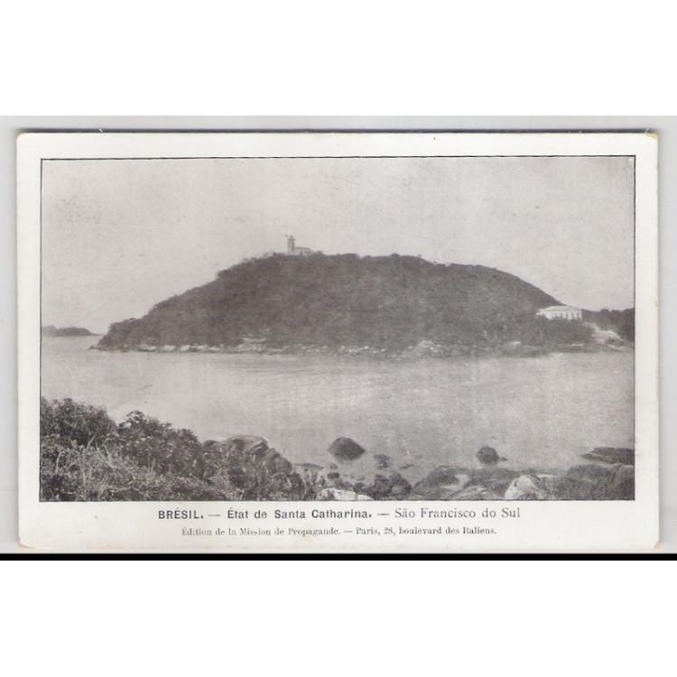sf01 - Postal antigo - São Francisco do Sul - SC, Mar, farol. Édition de la Mission de Propagande.