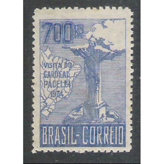 1934 - C-81 - Visita do Cardeal Pacelli (Pio XII), 700 Réis, 3a tiragem, novo, com goma. **