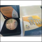 Brasil, 5 Reais, 2014, Moeda Comemorativa Olimpíadas Rio, prata, Série Arquitetura, Arcos da Lapa.