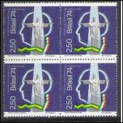 1974 - C-839q - Centenário do Nascimento de Guilherme Marconi. Cristo Redentor. Rádio. Quadra.