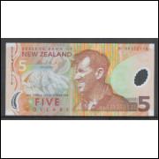 Nova Zelândia (P.185) 5 Dollars 2009 fe polímero, fauna.