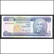 Barbados (P.36) 2 Dollars 1986 fe.