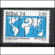 1974 - C-858 - Centenário da UPU - União Postal Universal. Mapa.