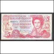 Ilhas Falkland (Malvinas), 5 Pounds, 2005, fe. Rainha Elizabeth II.