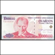 Turquia (P.214) - 10.000.000 Lirasi, 1999, fe.