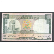 Hong-Kong (P.74a), 10 Dollars 1970-75, The Chartered Bank , soberba.