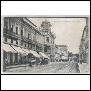 sa01 - Cartão postal antigo, Rua Nova das Princezas, Bahia. Bonde. J.Mello, Editor.