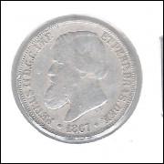1867 - 200 Réis,  prata, mbc, Brasil-Império, Dom Pedro II.