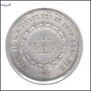 1867 - 500 Réis,  prata, mbc/s, Brasil-Império, Dom Pedro II.