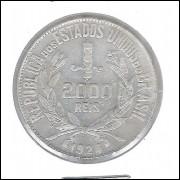 1924 - 2000 Réis, prata, mbc/s.