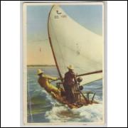 fo02 - Cartão postal antigo, Jangada em alto mar. Fortaleza. Embarcações.