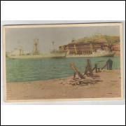 vi01 - Cartão postal antigo, Caes de Minério - Vitória - ES. Embarcações, navios.