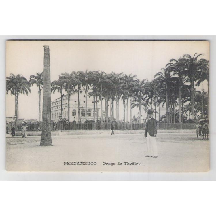 re21 - Cartão postal antigo, Praça de Teatro, Recife - Pernambuco.