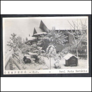 Postal Real Foto Estúdio Chapecó, casas com neve, anos 50-60