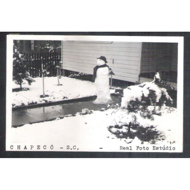 Postal Real Foto Estúdio Chapecó, boneco neve, anos 50-60