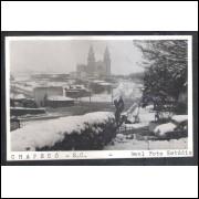 Postal Real Foto Estúdio, Chapecó, oneve, igreja, anos 50-60.