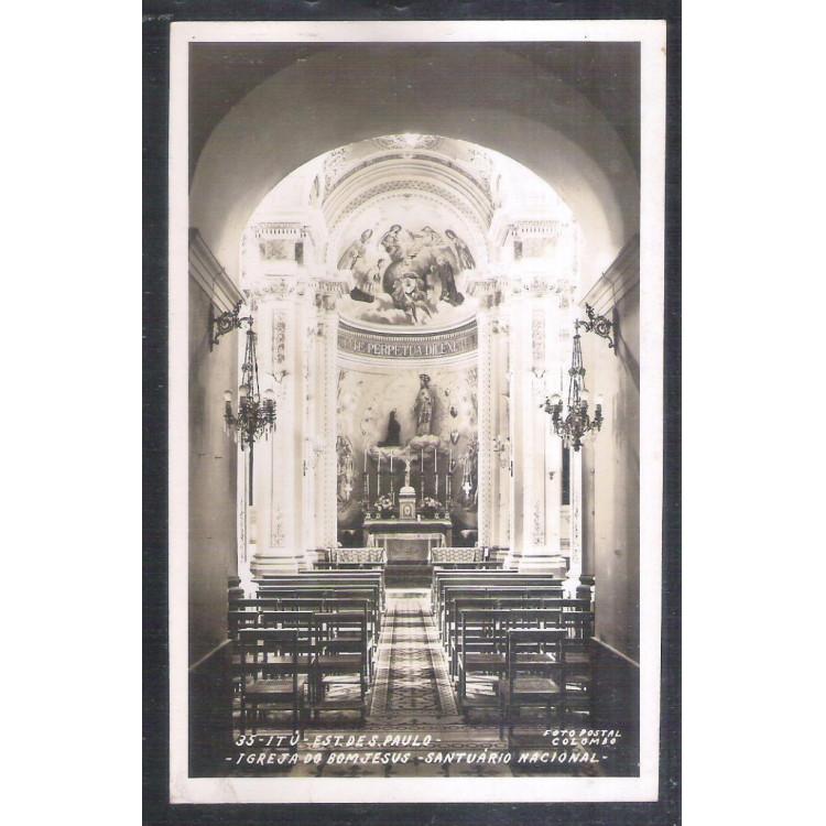 Foto Postal Colombo 35, Itu, Igreja do Bom Jesus - Santuário Nacional, anos 50.