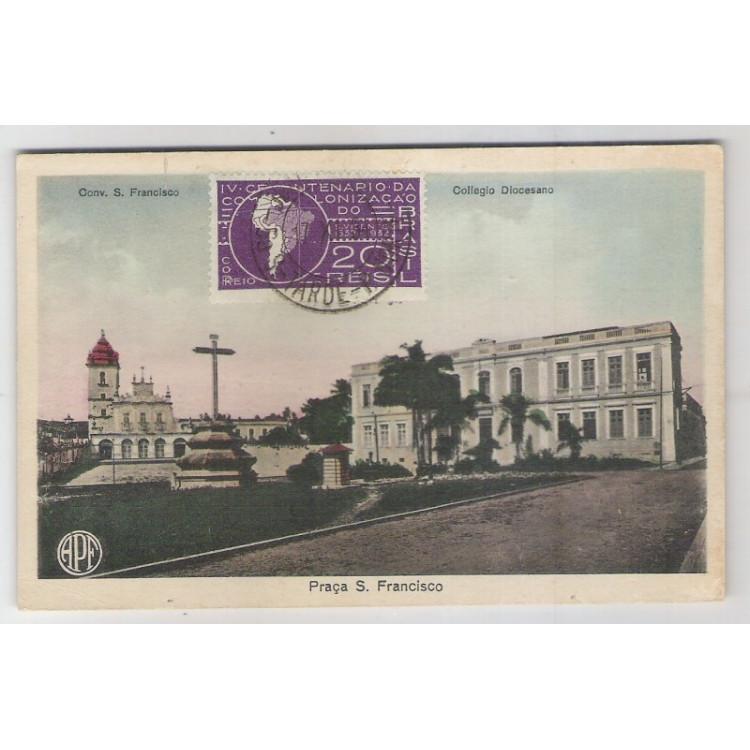 jp02 - Cartão postal antigo, Praça S.Francisco, Convento e Colégio, Parahyba do Norte (João Pessoa).