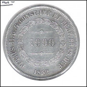 1852 - 1000 Réis, prata, mbc, Brasil-Império, Dom Pedro II.