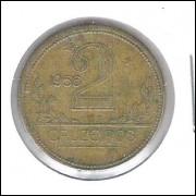 1956 - 2 Cruzeiros, bronze-alumínio, mbc.